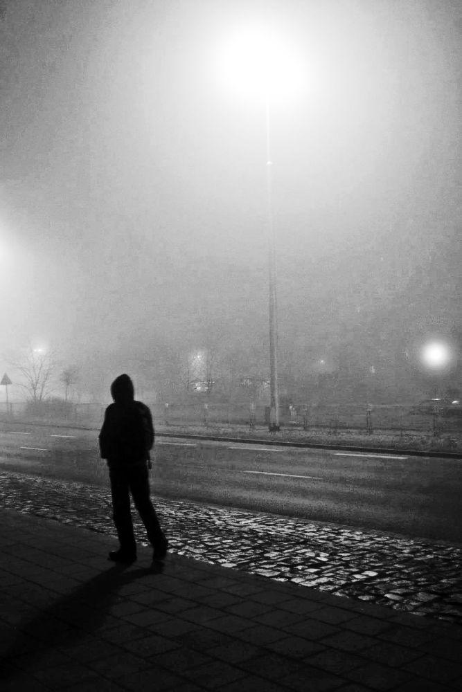 Photo in People #fog #man #evening #walk #loneliness