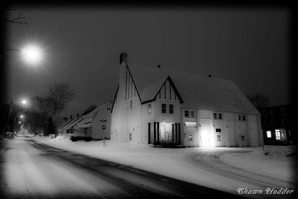 Photo in Black and White #black-white #winter #snow #evening #longexposure #lights #road
