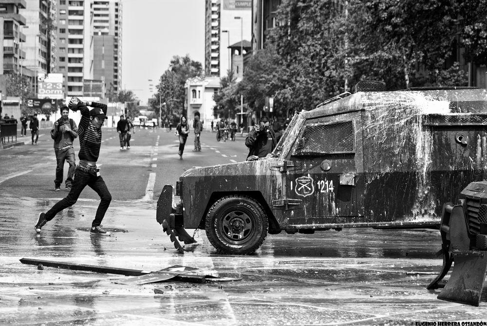 Photo in Journalism #chile #santiago #blackandwhite #protest