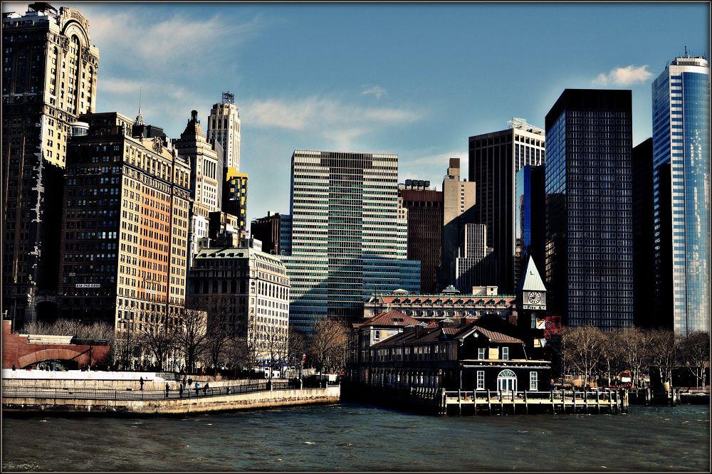 Photo in Random #manhattan #new york #hudson #river #sky #cityscape #buildings #pier
