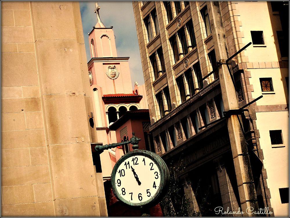 Photo in Random #clock #building #street #city #cityscape #cross #church