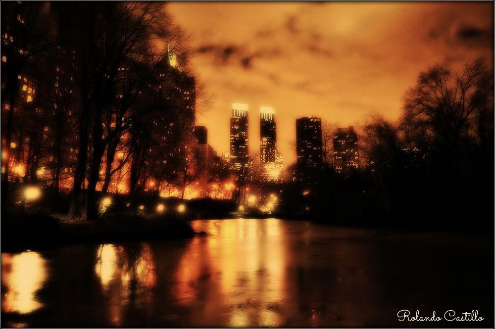 Photo in Random #night #city #cityscape #lake #snow #building #central park #new york #manhattan