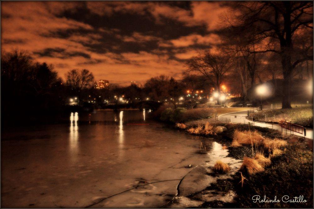 Photo in Random #lake #snow #park #new york #sky #central park #.manhattan #night