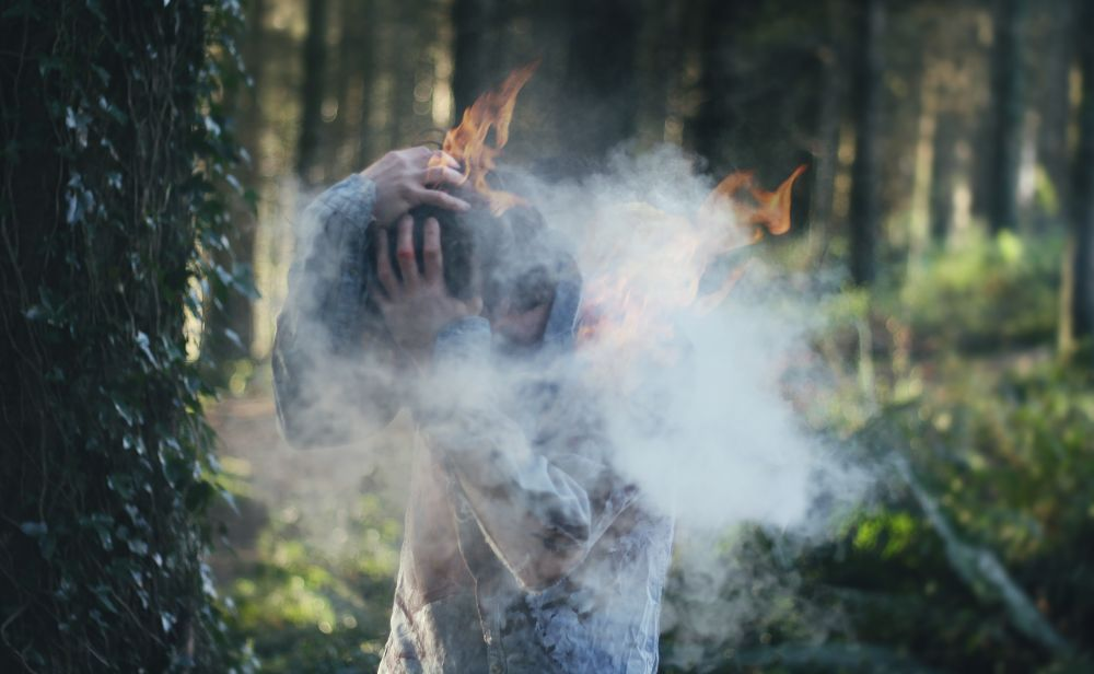 Photo in Fine Art #fire #burning #flames #woods #trees #concept #surreal #smoke #portrait #canon #365 project