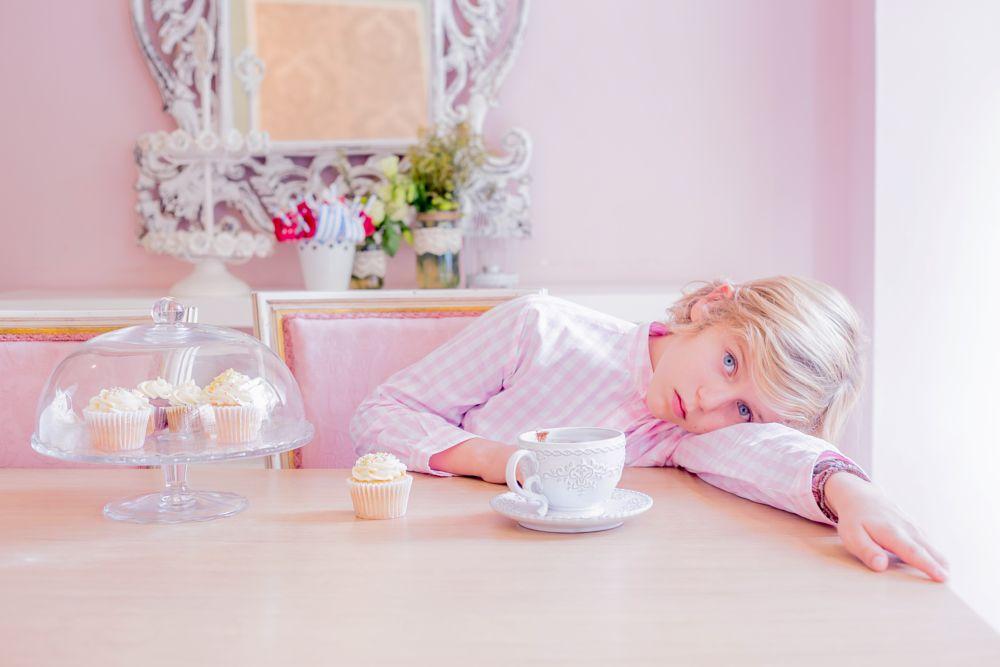 Photo in People #kid #pink #color #eyes #portrait #blond #tea #cupcake