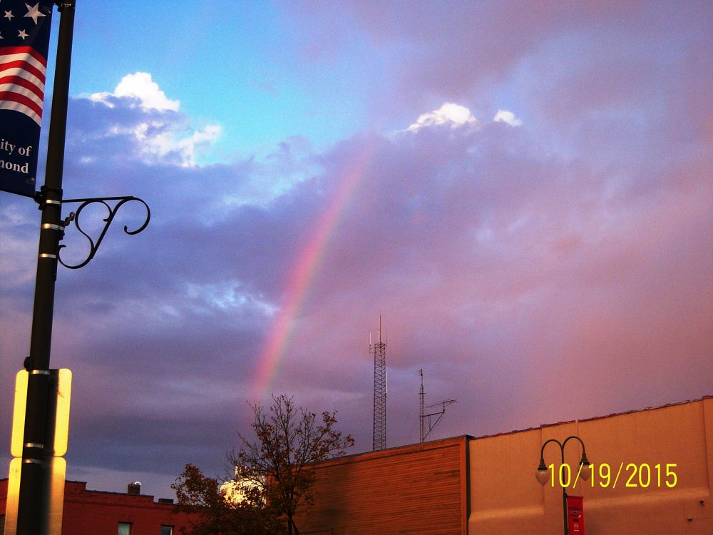Photo in Landscape #rainbow #wisconsin #storm #clouds #sky