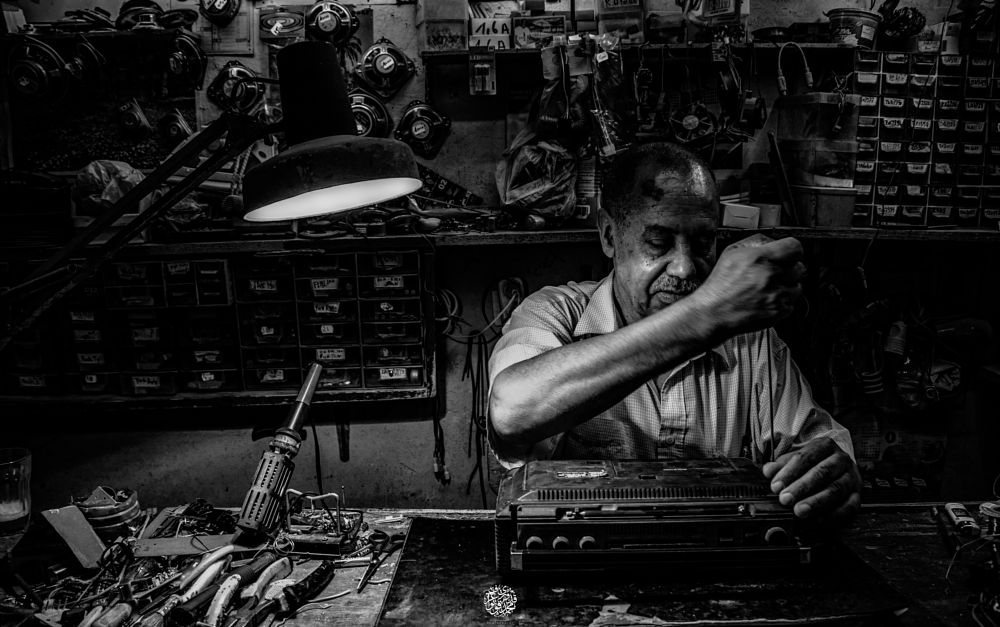 Photo in Black and White #old #man #portrait #black #white #work #job