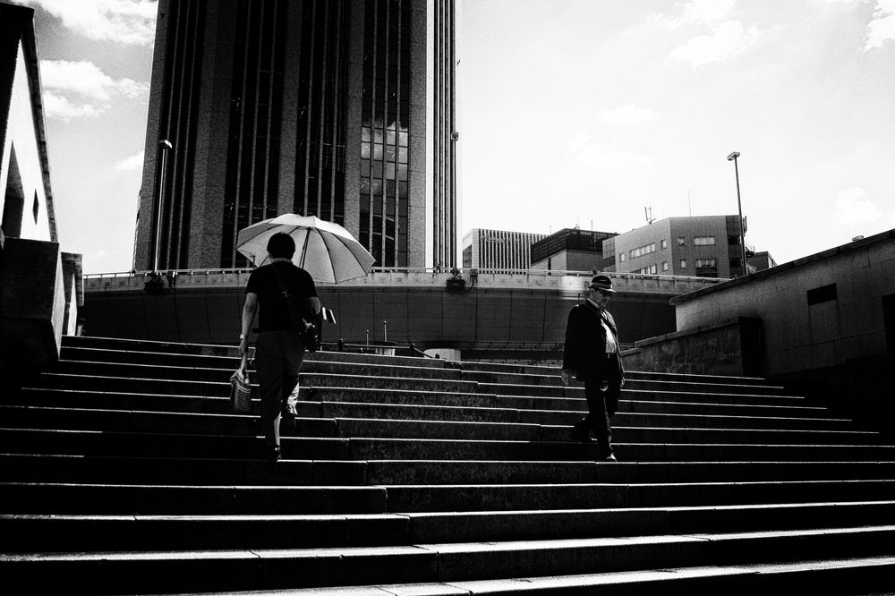Photo in Black and White #monochrome #black and white #light and shadow #absract #japan #japanese #stranger #street #street photography #osaka #abstract #people #city #urban