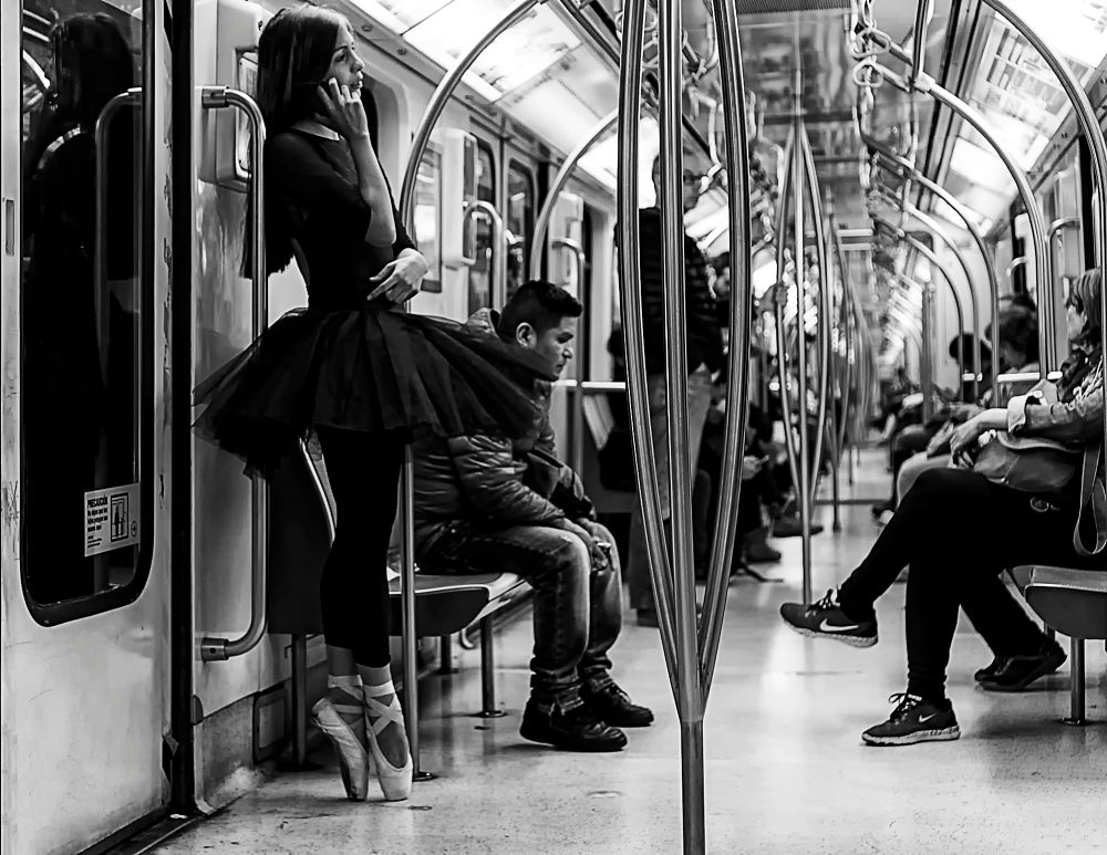 Photo in Black and White #street photography #black&white #subway #ballet