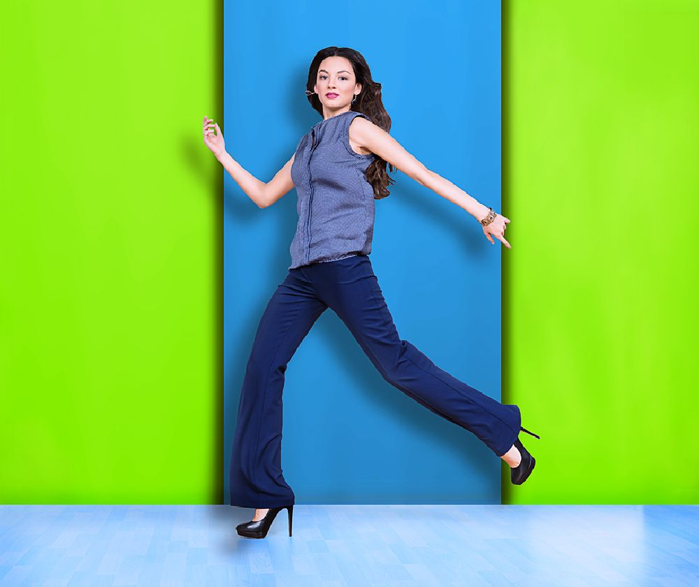 Photo in Fashion #fashion #women #female #girl #heels #blue #jump #studio