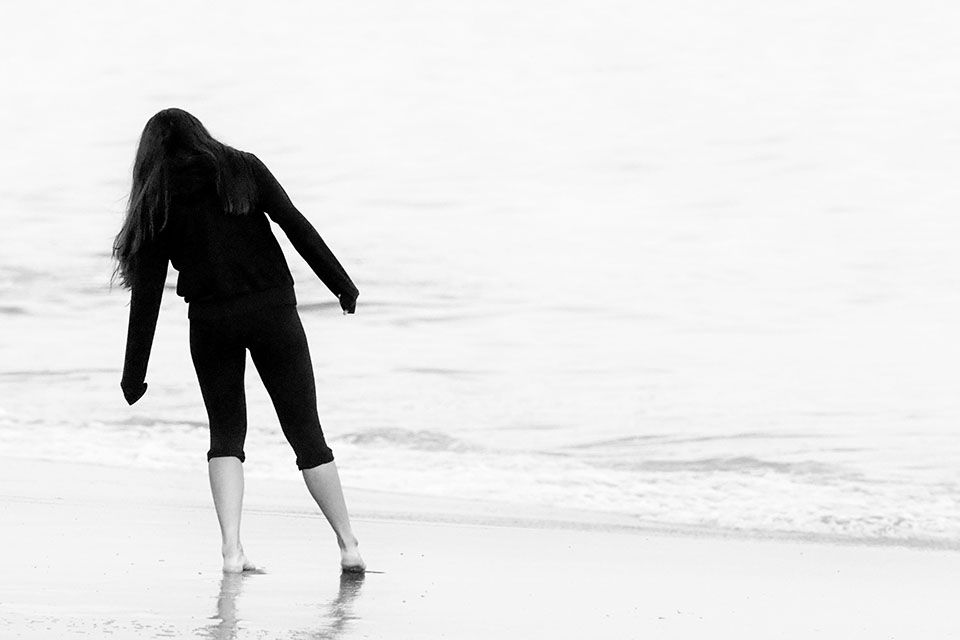 Photo in Black and White #beach #lady #walk