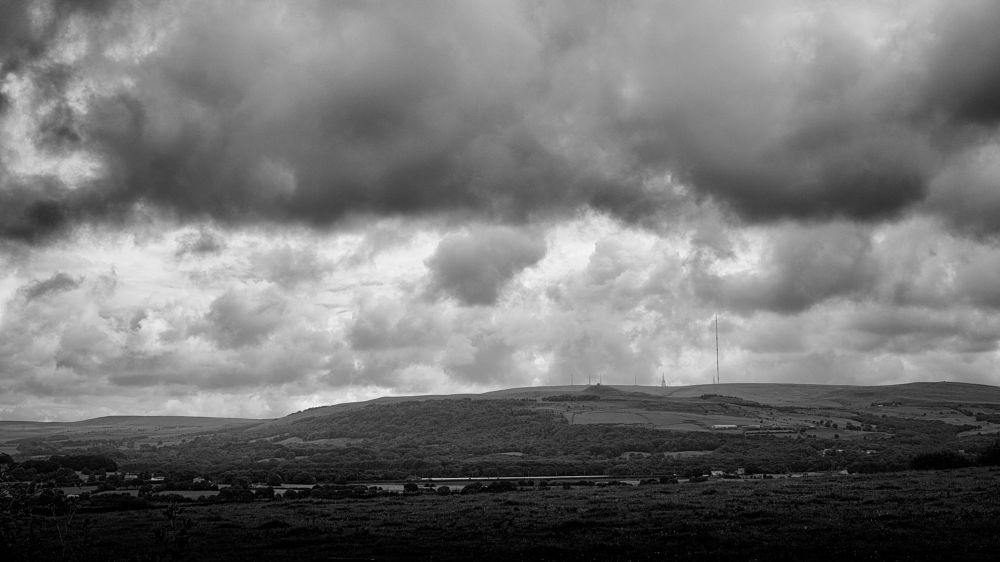Photo in Black and White #winter hill #clouds #monochrome #winter hill masts