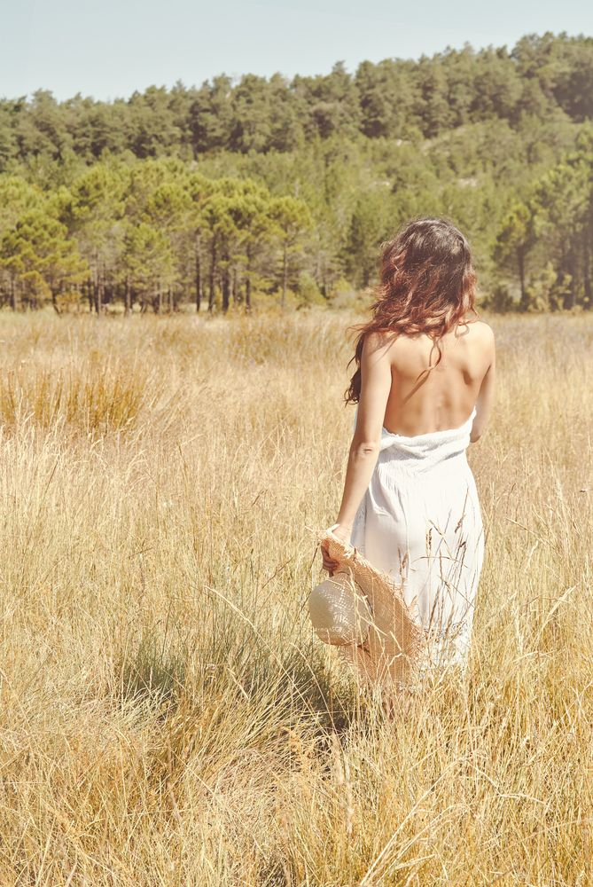 Photo in People #nude #back #outdoors #summer #field #woman #model #implicit nude
