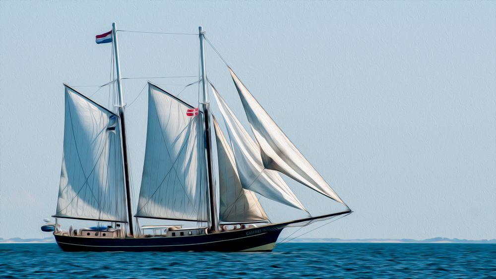 Photo in Nature #ship #sail #wind #ocean #horizon #land #sea #blue #travel #explore