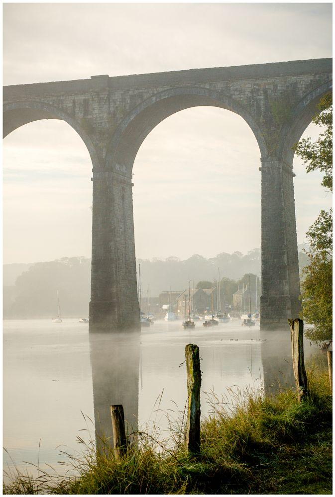 Photo in Landscape #boat #yacht #viaduct #bridge #mist #post