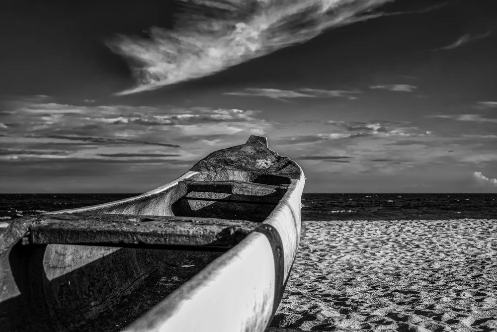 Photo in Black and White #canoe #canoa #caiçara #praia #céu #mar #sky