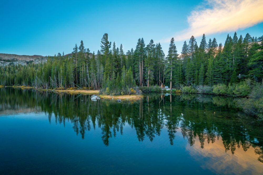 Photo in Landscape #sunrise #morning #reflection #fall #fall color #autumn #mammoth lakes #calm water #lake mamie #eastern sierra #mono county #non urban scene #vacation