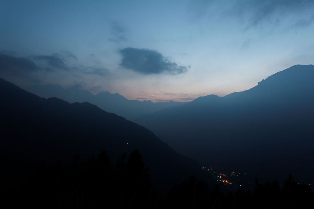 Photo in Landscape #moon #night #mountains #fog