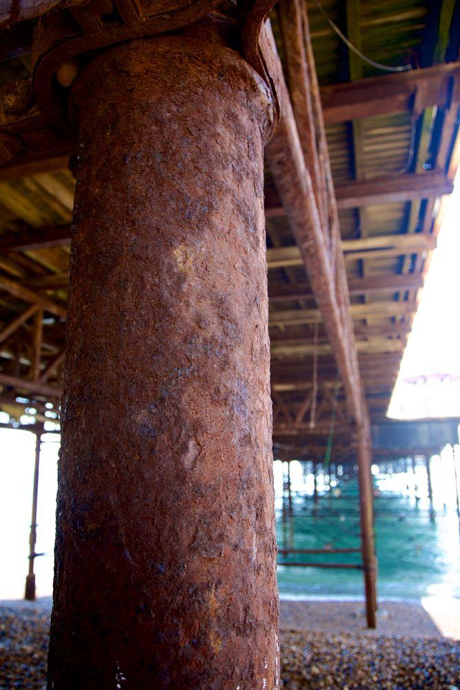 Photo in Urban #rust #pole #metal #pier #strut #brighton