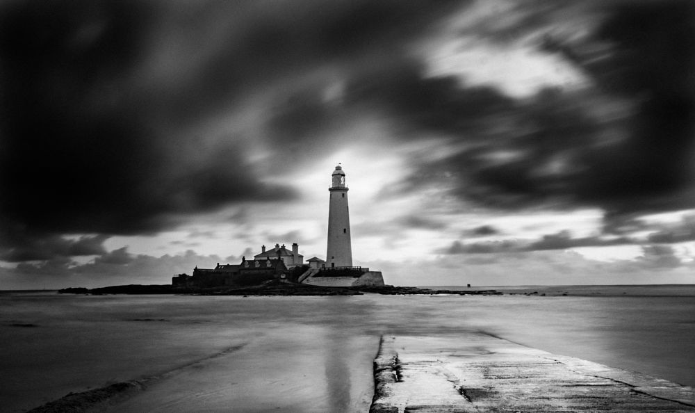 Photo in Black and White #lighthouse #long exposure #spring #northumberland #st mary`s #beach #sea