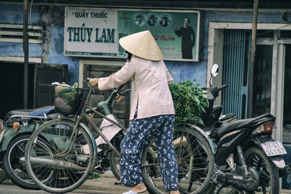 Photo in Street Photography #quy nhơn #việt nam #cycle #vegetable #old #old woman #woman #cub #street #life #street life #urban life