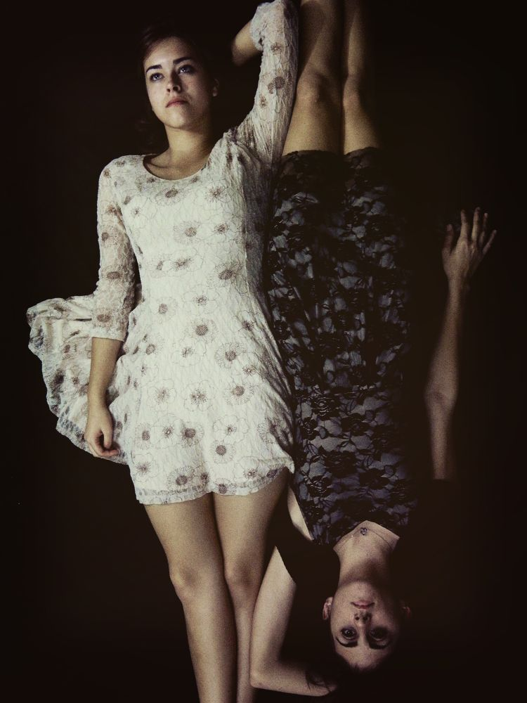 Photo in Fine Art #yin and yang #black and white #opposites #women #lace #portraits #fine art