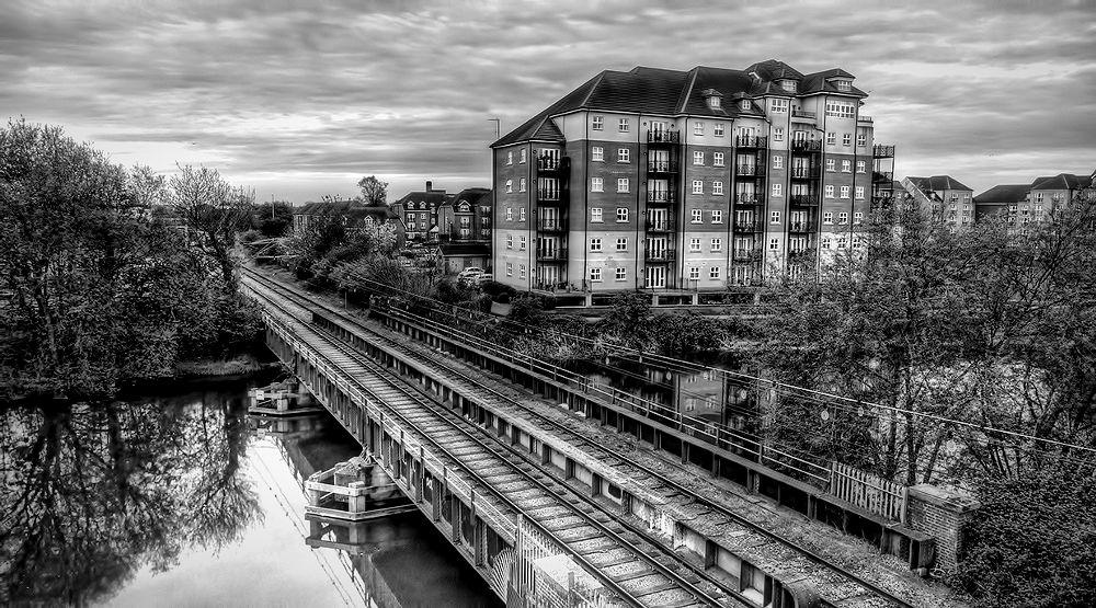Photo in Landscape #bridge #flats #railway #b&w