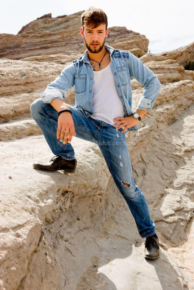 Photo in Portrait #model #male model #matt mosby #david k. smith #dks media solutions #leather shoes #denim #denim jacket #blue jeans #vasquez rocks #southern california