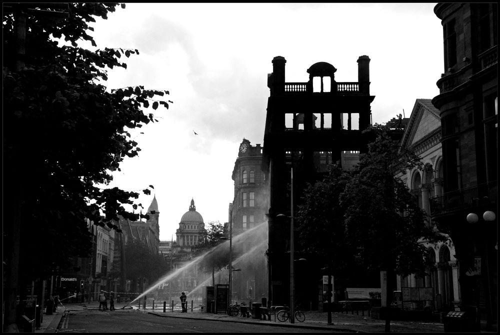 Photo in Journalism #fire #belfast #bank buildings #city #b/w