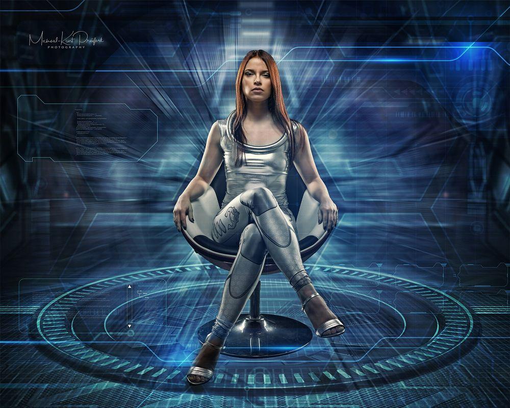 Photo in Fine Art #composing #photoshop #futuristic #spaceship #model #sexy #studio #chair #blue #beauty #sci-fi