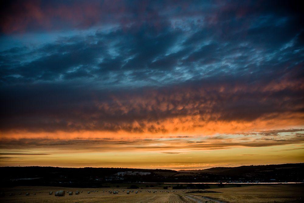 Photo in Landscape #harvest #autumn #sunset #sky #landscape