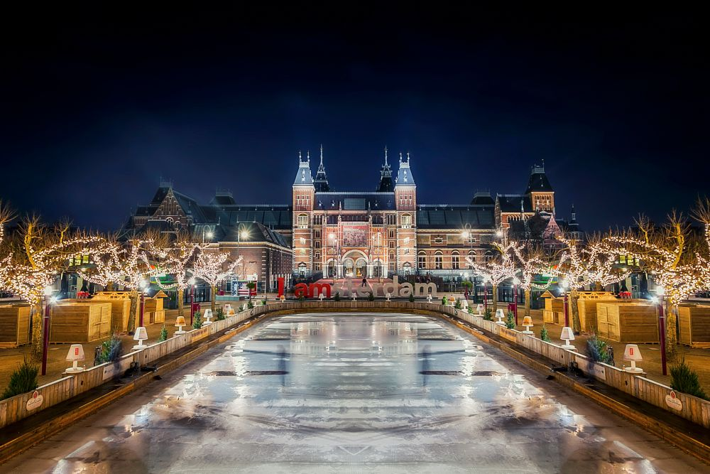 Photo in Cityscape #long exposure #amsterdam #rijksmuseum #city #cityscape #building #ice #skating #trees #christmas lights #i amsterdam #old #long exposure #architecture #canon #night #nightshot #holland #the netherlands #museum quarter #square #christmas #lights #holidays