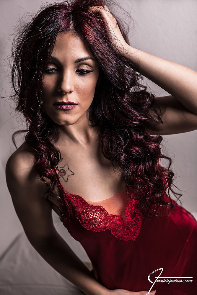 Photo in Portrait #boudoir #model #red dress #silk #intimate #intimacy #red hair