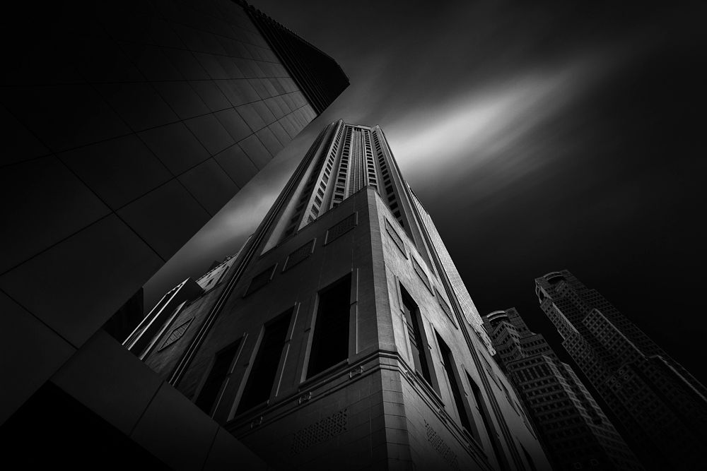 Photo in Black and White #architecture #long exposure #black and white #cityscape #mono #skyline #skyscraper