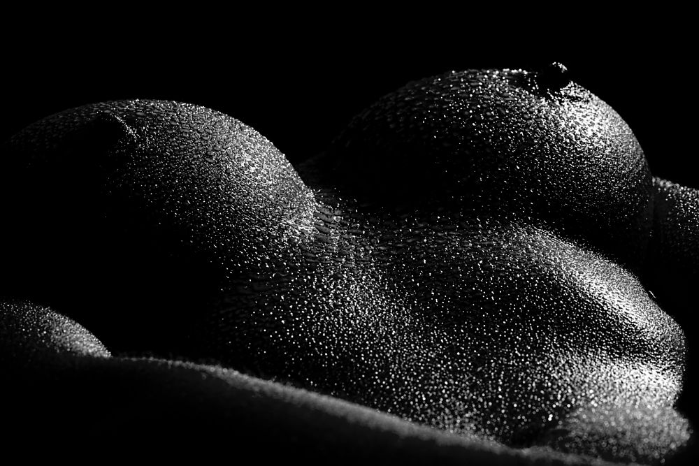 Photo in Nude #black and white #water #oil #parts #breasts #dark