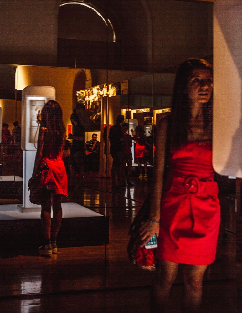Photo in People #red #red dress #lady in red #kubrick #payphone #exhibition #art gallery #somerset house #london #lifestyle