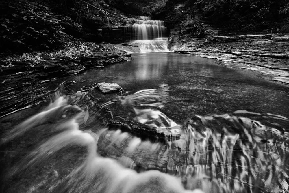 Photo in Landscape #waterfall #b&w #ithaca #finger lakes
