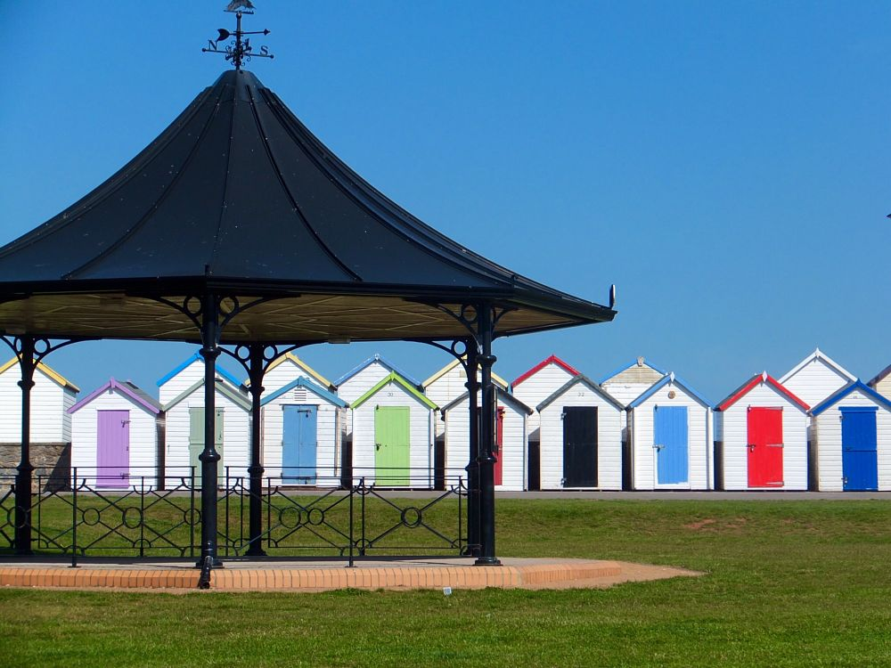 Photo in Sea and Sand #beach huts #bandstand #english holiday town #goodrington sands #parklife
