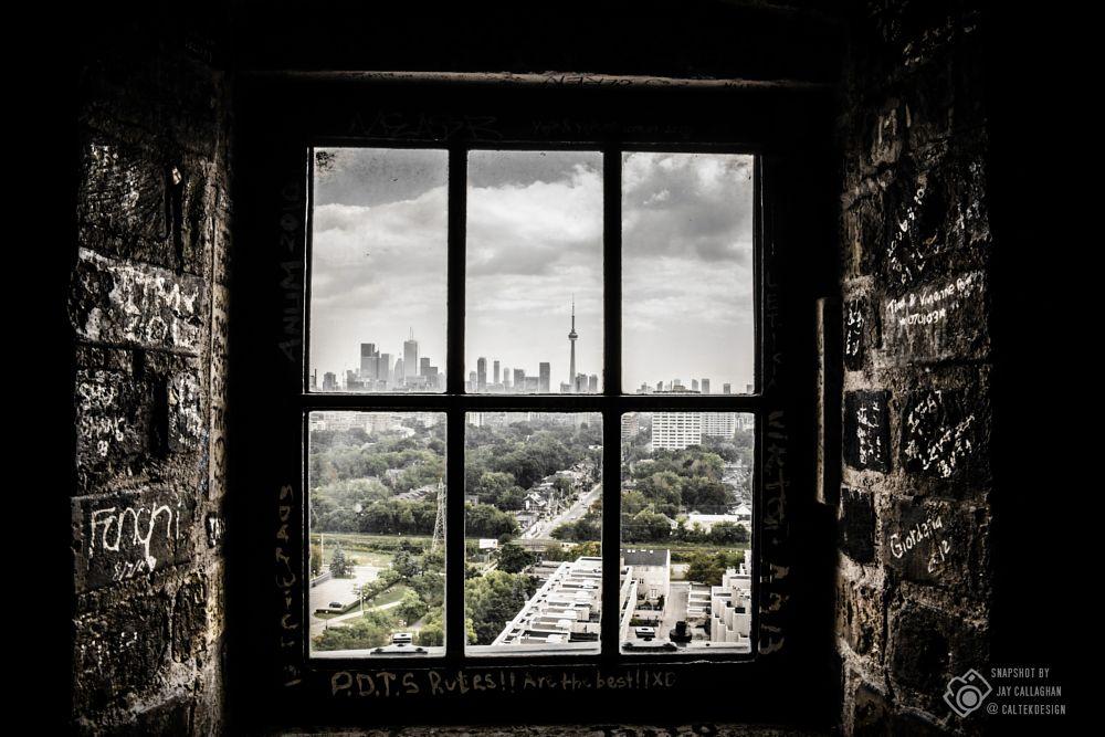 Photo in Cityscape #cn tower #toronto #ontario #downtown #cityscape #landscape #architecture #building #brick #casa loma #window #city