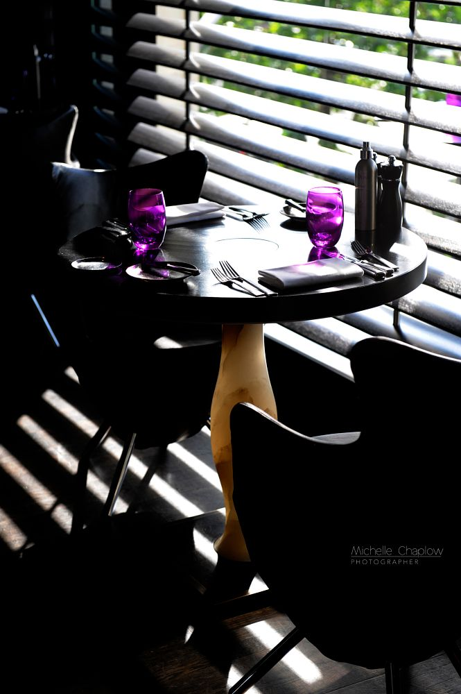Photo in Abstract #table #two #dining #light #shade #purple #glasses #space #intimacy #luxury #travel #hotel #photography #nikon #voyage