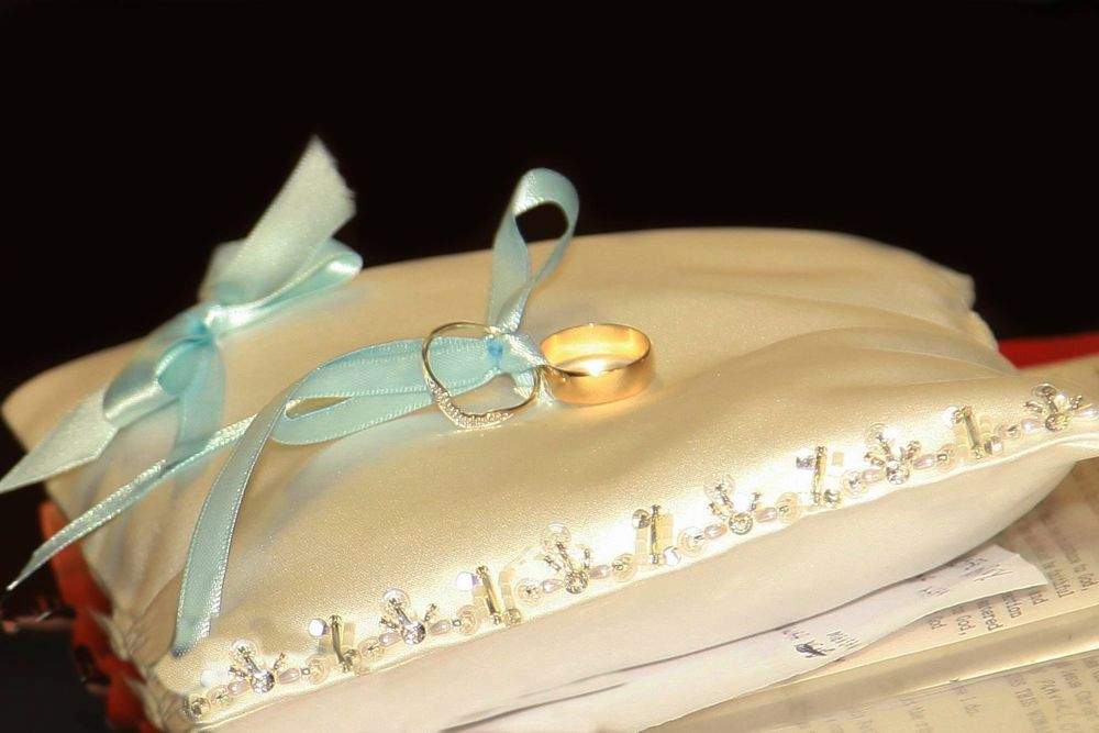 Photo in Wedding #dpc photography #rings #wedding #cushion #ribbon #blue #gold