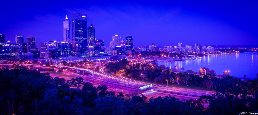 Photo in Cityscape #skyline #perth #light trail #uv