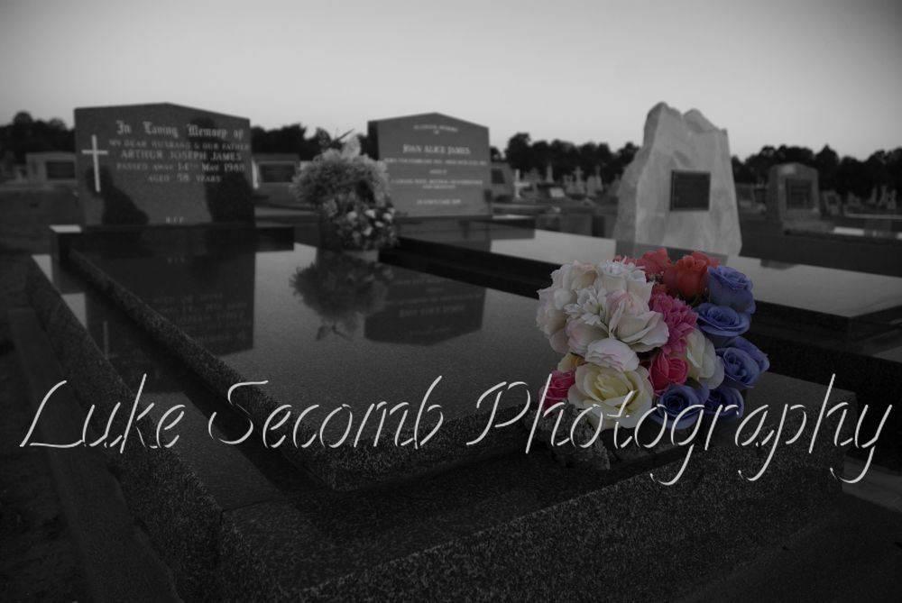 Photo in Random #cemetery #flowers #coloursplash #colorsplash #photoshopcc #photoshop #black&white #blackandwhite #lukesecombphotography #dusk #sunset