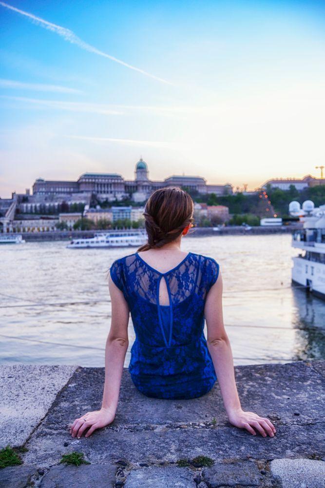 Photo in HDRI #budapest #hungary #sunset #castle #river #shore #sky #lights #water #sitting #girl #city #spring #buda #ship #ships