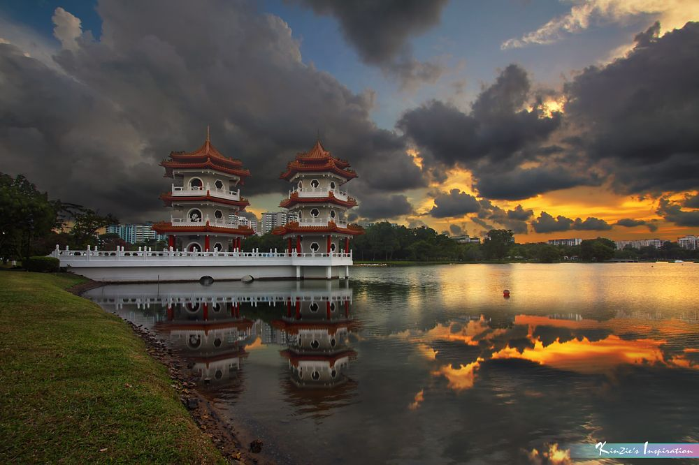 Photo in Nature #heavy rain storm is coming #corners of singapore #nature #landscape #macro #sunset #dusk #rain #storm #pagoda #chinese garden #jurong east #singapore #garden #park #pond #lake #lake view #reflections