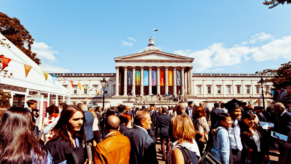 Photo in Urban #london #summer #street #colour #angle #people #university #2012 #wide #graduation #olympics #ucl #portico