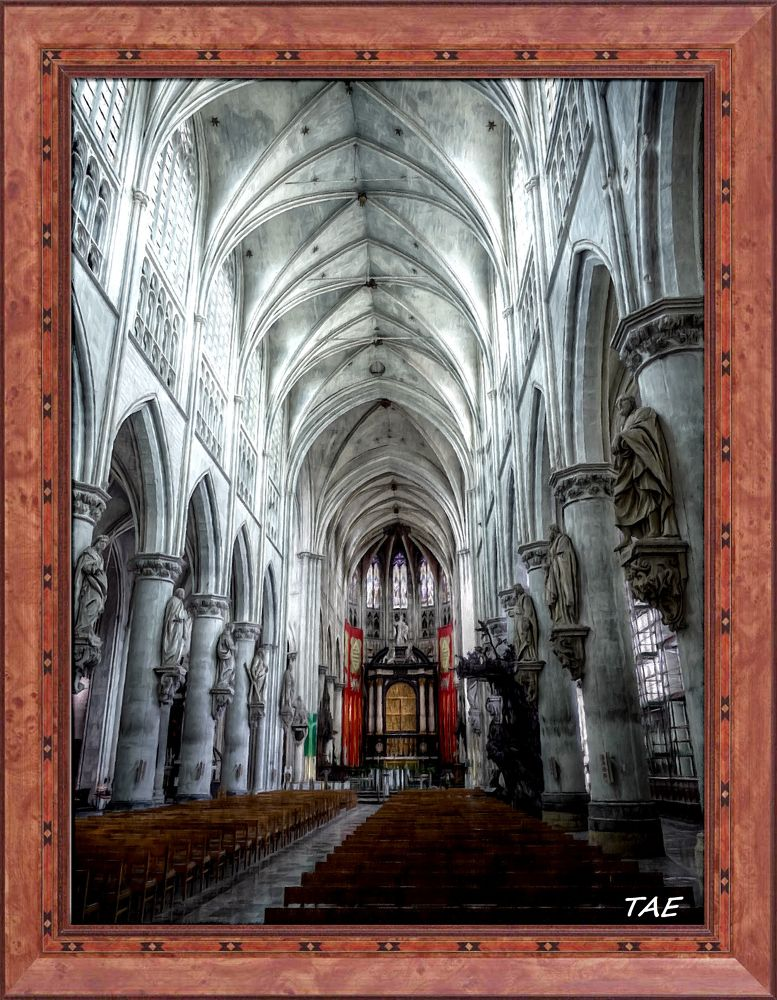 Photo in Interior #art #oil #painting #church #belgium #cathedral #interior #fine #canvas #mechelen #rombouts