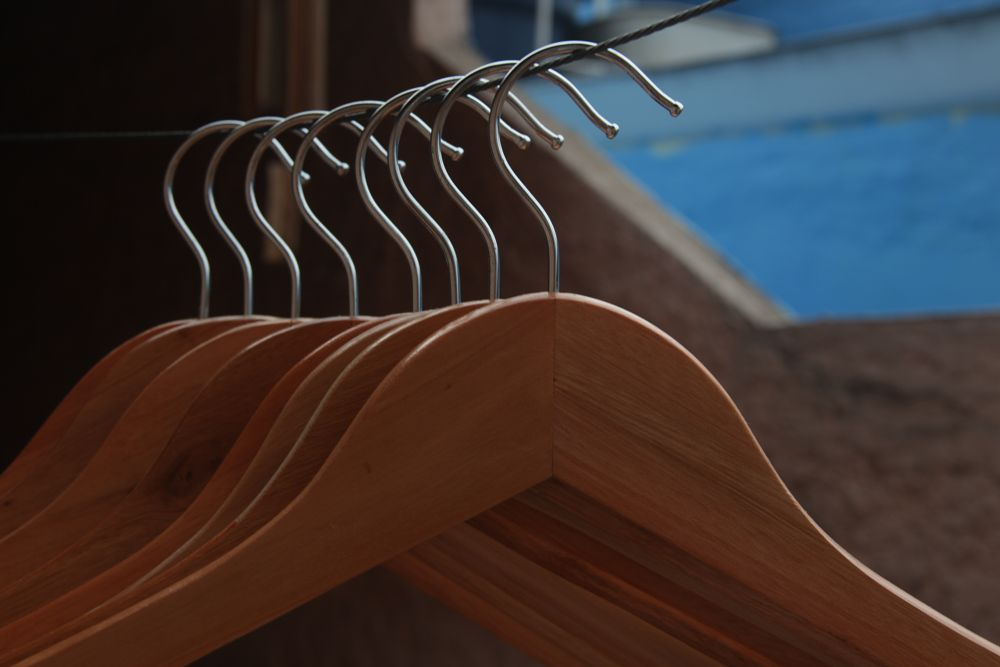 Photo in Abstract #clothes hanger #clothes #hanger #wood #clothes line