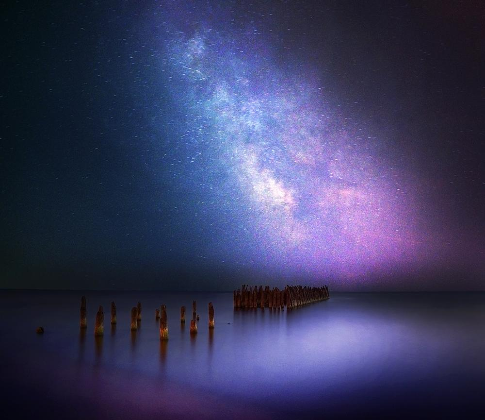 Photo in Landscape #milky way #lithuania #night #sea