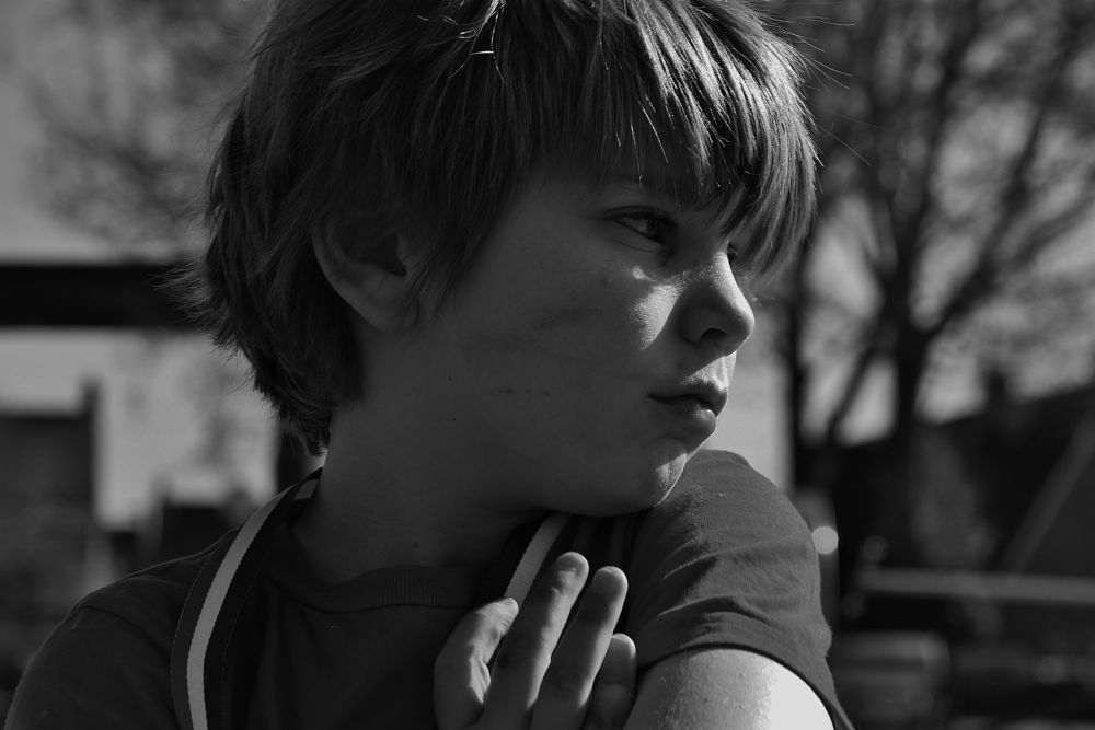 Photo in Black and White #spring #thoughts #black and white #portrait #childhood #family #love #proud #springsun